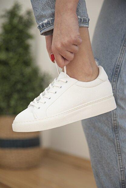 Straswans Kadın Sweet Deri Spor Ayakkabı Beyaz