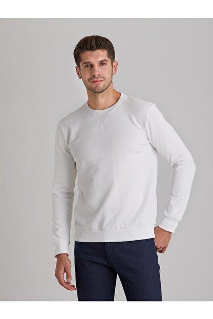Dufy Erkek Beyaz Düz  Slım Fıt Sweatshirt