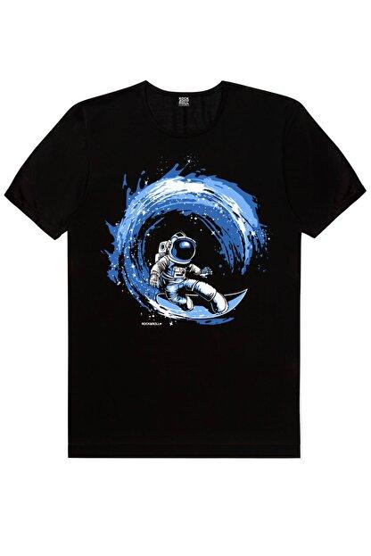 Rock & Roll Erkek Siyah Galaktik Sörfcü Kısa Kollu T-shirt