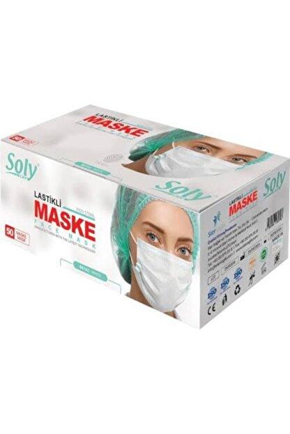 Soly Care 3 Katlı Lastikli Burun Telli Cerrahi Beyaz Maske 50'li B0000x2820