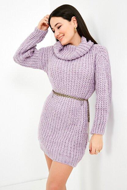 Sateen Kadın Lila Balıkçı Yaka Örme Triko Elbise  STN503KTR133