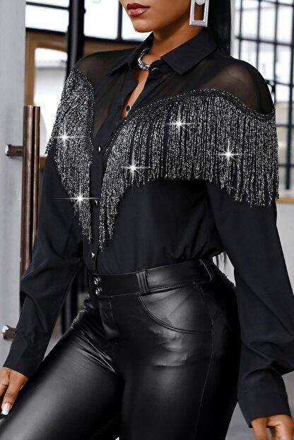 BLACK&GRACE Kadın Siyah Püsküllü Selanik Kumaş Gömlek