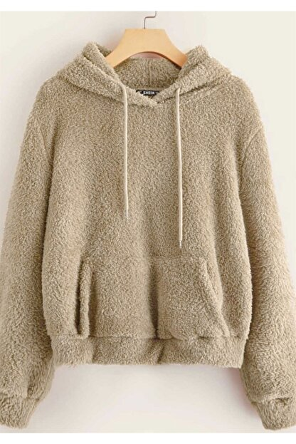 Madmext Kadın Camel Peluş Kapüşonlu Sweatshirt Mg818