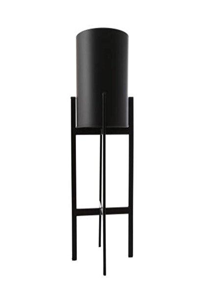 İthal Metal Siyah Dekoratif Ayaklı Saksı 25x64 Cm