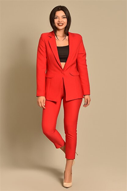 Modakapimda Kadın Kırmızı Ceket Pantolon Takım