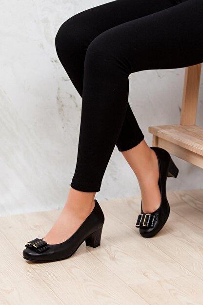 Deripabuc - Anatomik Hakiki Deri Siyah Kadın Topuklu Deri Ayakkabı Shn-0172