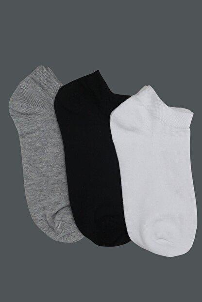 Tena Moda Kadın Gri-siyah-beyaz 3'lü Basic Patik Çorap