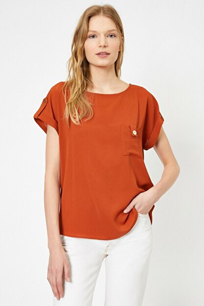 Koton Kadın Tarçın Rengi Kisa Kollu Cep Detayli Bluz