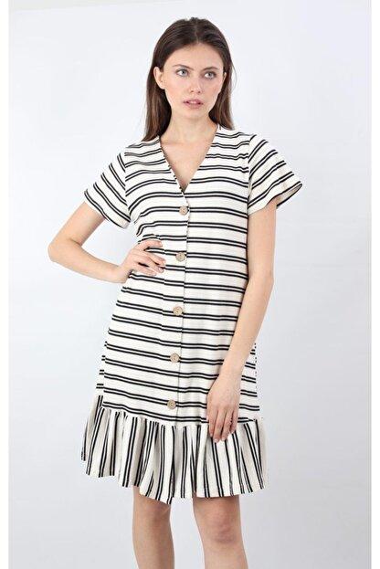 ALEXANDERGARDI Önü Düğmeli, Şeritli Elbise, Beyaz (B20-147607)