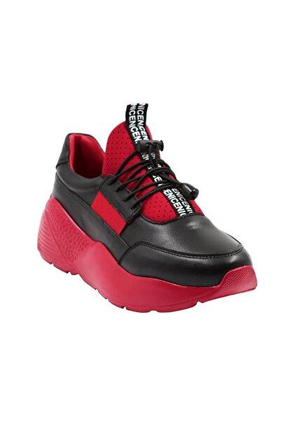 Abbondare Hakiki Deri Siyah-kırmızı Kadın Spor Ayakkabı-sneaker