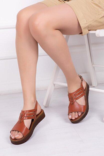 Deripabuc Hakiki Deri Taba Kadın Deri Sandalet Dp-0095