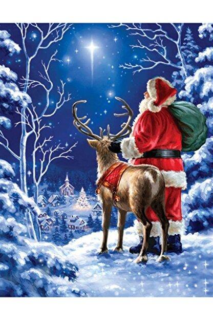 Marcel Kristal Tablo Noel Baba Ve Geyiği Kartpostal Elmas Mozaik Tablo 41x53cm