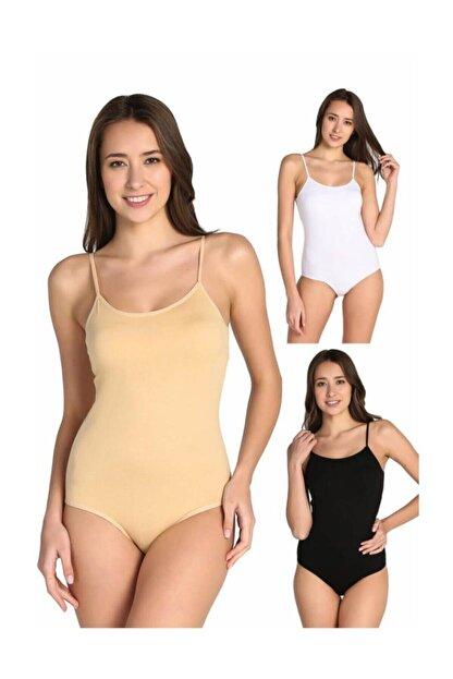 Tutku Kadın Karışık Renk 3'lü Ip Askılı Likralı Kancalı Çıtçıtlı Body Elf568t0148ccm3 Karışık Renk Xl
