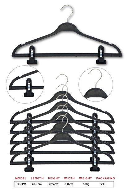 Tena Moda Unisex Siyah Dolgulu Mandallı Kıyafet Elbise Etek Pantolon Askısı 5 Adet