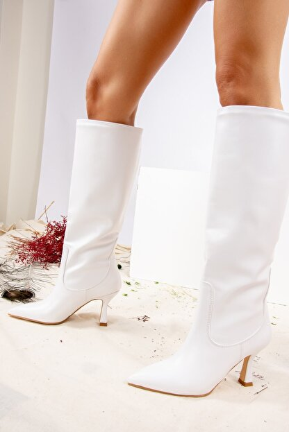 Fox Shoes Beyaz Suni Deri Kadın Çizme J572463309