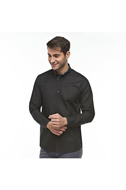 Otto Moda Siyah Casual Erkek Gömlek Yaka Desenli