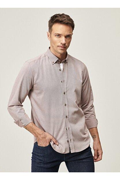 Altınyıldız Classics Erkek Bordo Tailored Slim Fit Dar Kesim Düğmeli Yaka Twill Gömlek