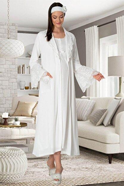 Mecit Pijama Mecit 5354 Ekru Sabahlıklı Lohusa Gecelik Takım