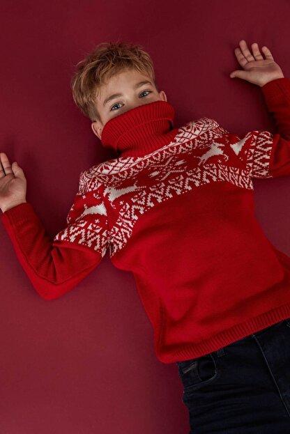 Defacto Erkek Çocuk Yeni Yıl Temalı Triko Kazak
