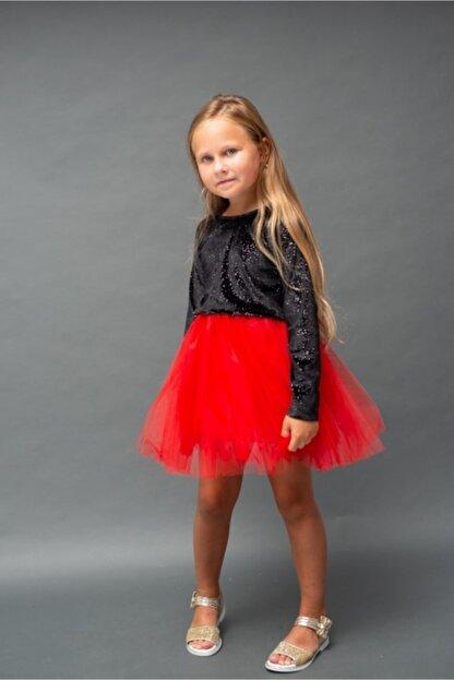 RG KİDSTORE Kız Çocuk Özel Gün Kırmızı Tütü Elbise Parlak Siyah Kadife Ve Kırmızı Tül