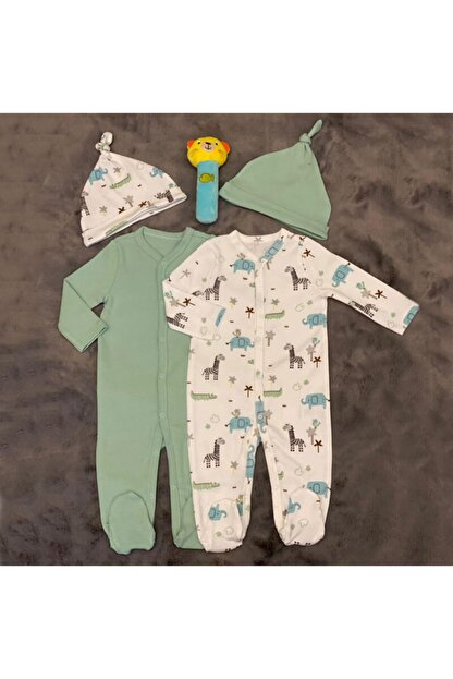 PİEROSBABY Pieros Baby 0071 Erkek Bebek 2'li Tulum Şapkalı