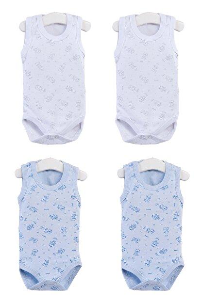 Pattaya Kids Bebek Kolsuz Beyaz Mavi Çıtçıtlı Body Ptk20s-401