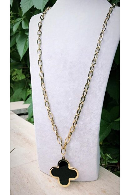 Latua Aksesuar Kadın Van Cleef Gold Renkli Uzun Çelik Kolye