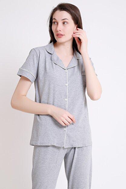 BESİMMA Kadın Açık Gri Kısa Kollu Penye Pijama Takımı