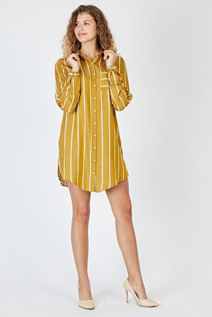 Pera Çizgili Hardal Tunik Elbise