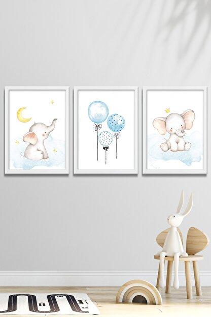 Norm Design Bebek & Çocuk Odası 3'lü Çerçeveli Posterli Duvar Tablo Seti