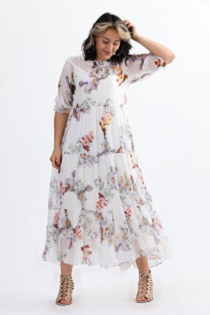 Camena Kadın Beyaz Çiçek Baskılı Ipek Elbise 2019070500086