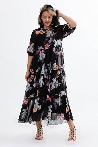 Camena Kadın Siyah Bisiklet Yaka Çiçek Baskılı İpek Elbise 2019070500087