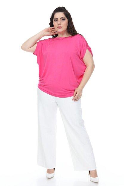 Mihra Stil Kadın Pembe Büyük Beden Yarasa Kol Pembe Bluz