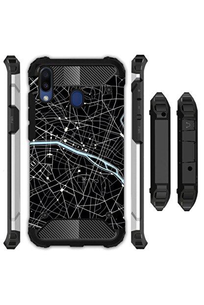 cupcase Samsung Galaxy M30 Kılıf Desenli Sert Korumalı Zırh Tank Kapak - Kroki Şehir