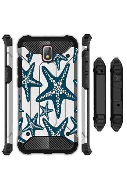 cupcase Samsung Galaxy J7 Pro Kılıf Desenli Sert Korumalı Zırh Tank Kapak - Deniz Yıldızı
