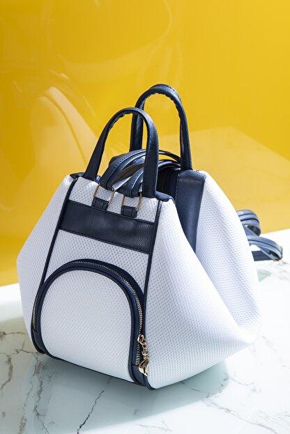 Tonny Black Kadın Çanta Çoklu Kullanıma Uygun Beyaz Lacivert Tbc04