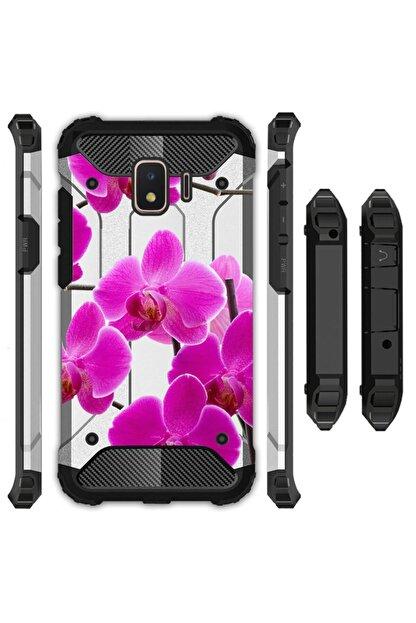 cupcase Samsung Galaxy J4 Kılıf Desenli Sert Korumalı Zırh Tank Kapak - Mor Orkide