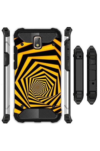 cupcase Samsung Galaxy J7 Pro Kılıf Desenli Sert Korumalı Zırh Tank Kapak - Sarı Siyah Tünel