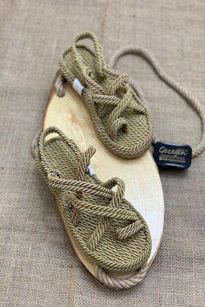 Shoe Miss Kadın Altın Renk Hasır Sandalet Sandy