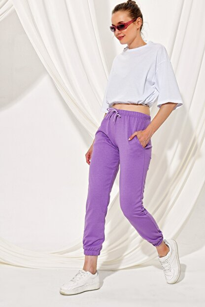 Trend Alaçatı Stili Kadın Lila Paçası Lastikli İki İplik Eşofman Altı ALC-Y2933