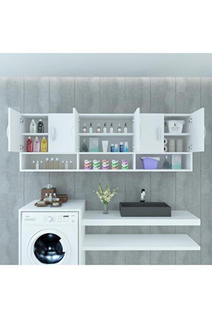 Kenzlife Banyo Dolabı Maksim Byz 060*150*22 Mutfak Ofis Dolabı Kitaplık Kapaklı Raflı