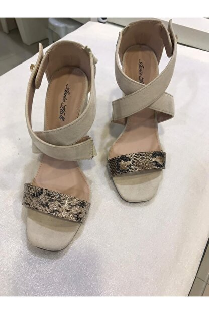 Annie Hall Kadın Krem Çapraz Topuklu Ayakkabı