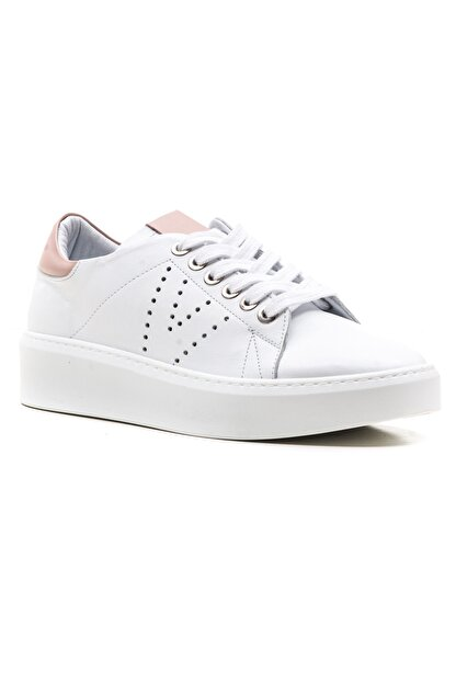 GRADA Kadın Beyaz Bağcıklı Hakiki Deri Spor Günlük Ayakkabı
