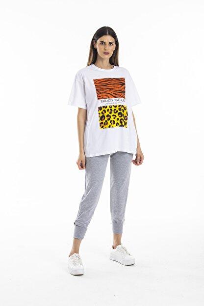 bunubanayolla Zebra Ve Leopar Parça Baskılı Salaş Beyaz Tshirt