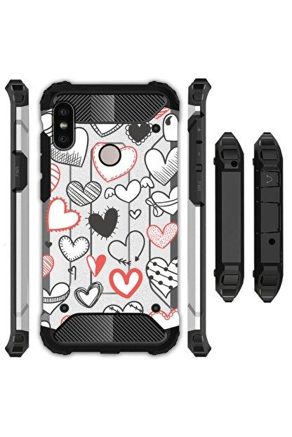 cupcase Xiaomi Redmi 6 Kılıf Desenli Sert Korumalı Zırh Tank Kapak - Desenli Kalpler