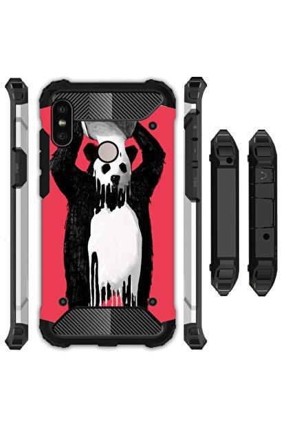 cupcase Xiaomi Redmi 6 Kılıf Desenli Sert Korumalı Zırh Tank Kapak