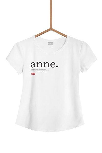 Lûgat365 Kadın Beyaz Anne Yazılı Tişört