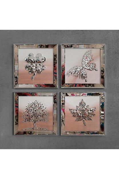 Atlantis Tablo Izabel Pudra 4'lü Takım Mozaik 60x60 Cm / Çınar Yaprağı-kelebek-yonca-ağaç