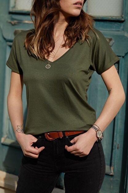 XHAN Kadın Haki V Yaka Basic T-Shirt 0YXK2-43352-09