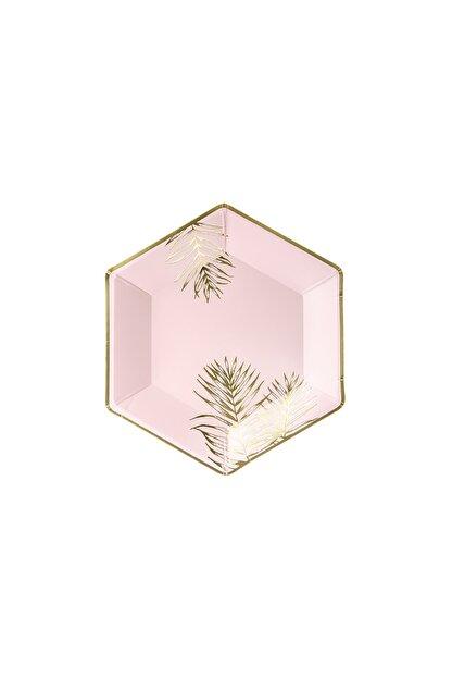 KullanAt Market Tropikal Altın Yaprak Desenli Pembe Kağıt Tabak 23 cm 6lı